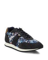 Tory Burch | Gray Pettee Mixed-media Sneakers | Lyst