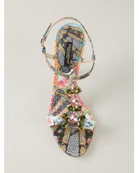 Dolce & Gabbana - Multicolor Floral Fans Embellished Sandals - Lyst