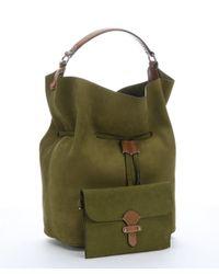 Burberry - Olive Green Suede Large 'susanna' Drawstring Shoulder Bag - Lyst