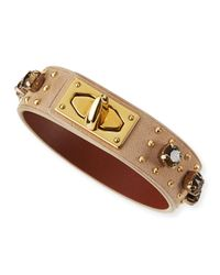 Givenchy - Metallic Suede and Crystal Turn-Lock Bracelet - Lyst