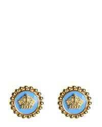 Juicy Couture | Blue Enamel Status Coin Stud Earring | Lyst