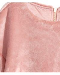 H&M - Pink Fake Fur Top - Lyst