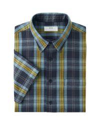 Uniqlo - Gray Men's Linen Cotton Plaid Shirt for Men - Lyst
