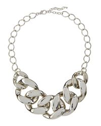 Kenneth Jay Lane - Metallic Rhodium-plated Large Link Necklace - Lyst