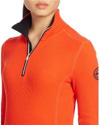 Lauren by Ralph Lauren | Orange Waffle-knit Mockneck Pullover Top | Lyst