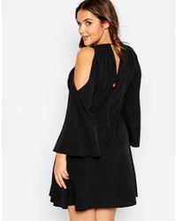 ASOS | Black Curve Cold Shoulder Babydoll Dress With Tassles | Lyst