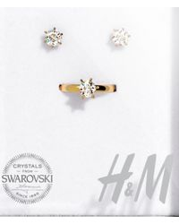 H&M | Metallic Crystal Ring And Earrings | Lyst