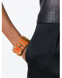 Moschino | Orange Logo Plaque Bracelet | Lyst