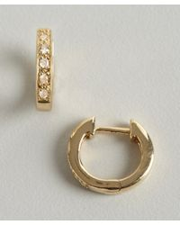 Sydney Evan - Metallic Gold and Diamond Huggy Small Hoop Earrings - Lyst