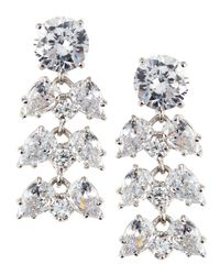 Fantasia by Deserio - Metallic Oval/pear-cut Cz Chandelier Earrings - Lyst