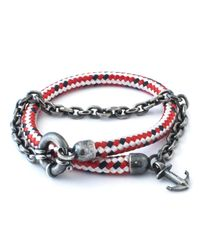 Anchor & Crew | Red Dash Barmouth Rope Bracelet for Men | Lyst