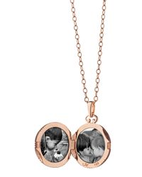 Monica Rich Kosann | Pink Rose Gold Cognac Mother-of-pearl Petite Locket Necklace | Lyst