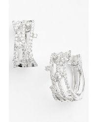 Bony Levy - Metallic 'solstice' Crossover Diamond Hoop Earrings - Lyst
