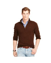 Polo Ralph Lauren - Brown Wool Half-zip Sweater for Men - Lyst