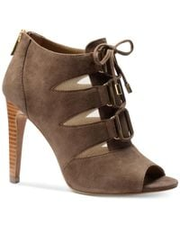 Isola - Gray Brinly Lace-up Peep Toe Booties - Lyst