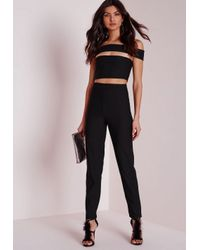 Missguided | Bandage Bardot Tapered Leg Romper Black | Lyst