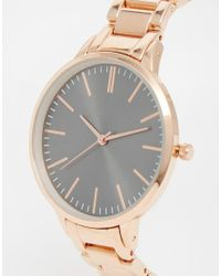 ASOS - Pink Charcoal Dial Rose Gold Boyfriend Watch - Lyst