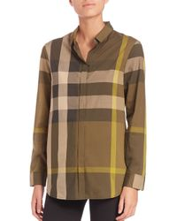 Burberry | Green Check-print Blouse | Lyst