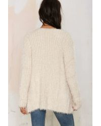 Nasty Gal | Natural Fuzz Worthy Ribbed Cardigan - Beige | Lyst