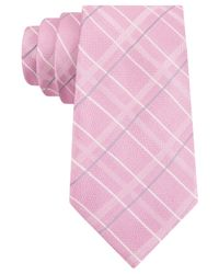 Michael Kors - Pink Michael Pop Rib Plaid Tie for Men - Lyst