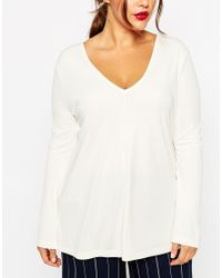 ASOS | Natural Clean Tunic With V Neck & Long Sleeves | Lyst