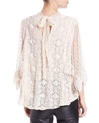 Free People   Natural Mesh-Accented Top   Lyst