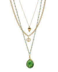 Panacea - Multicolor Multi-strand Druzy Pendant Necklace - Lyst