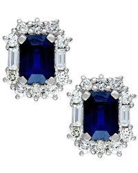 Macy's | Blue Sapphire (2-1/3 Ct. T.w.) And Diamond (7/8 Ct. T.w.) Earrings In 14k White Gold | Lyst
