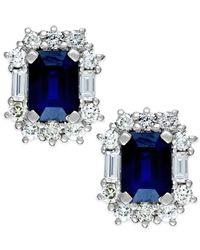 Macy's - Blue Sapphire (2-1/3 Ct. T.w.) And Diamond (7/8 Ct. T.w.) Earrings In 14k White Gold - Lyst