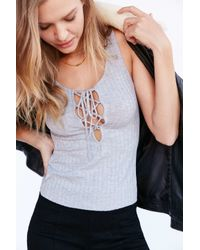 Project Social T - Gray Lace-up Ribbed Tank Top - Lyst