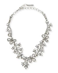 Oscar de la Renta | Metallic Floral Baguette Crystal Necklace | Lyst