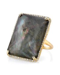 Anne Sisteron - Gray 14kt Yellow Gold Black Mother Of Pearl Rectangle Diamond Cocktail Ring - Lyst