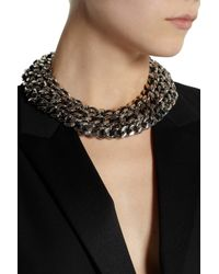 Saint Laurent - Metallic Palladium-Tone And Leather Chain Necklace - Lyst