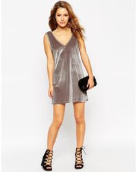 ASOS - Gray Petite Exclusive Velvet Shift Dress - Lyst