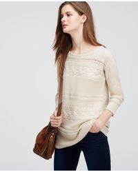 Ann Taylor | Natural Petite Mixed Stitch Sweater | Lyst