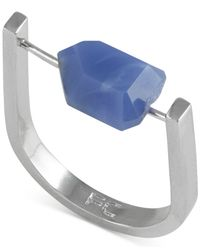 French Connection | Blue Silver-tone Nugget Stone Ring | Lyst