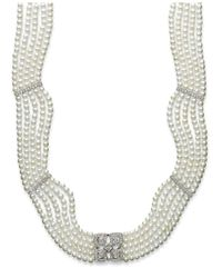 Macy's | Metallic Sterling Silver Necklace, Cultured Freshwater Pearl (2-1/2-2-9/10mm) And Diamond (3/8 Ct. T.w.) 5-row Necklace | Lyst