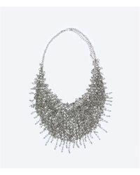 Zara | Metallic Metal Mesh And Crystal Necklace | Lyst