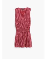 Mango | Red Elastic Waist Dress | Lyst
