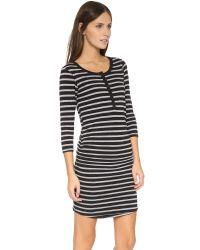 Sundry - 3/4 Sleeve Henley Dress - Black - Lyst