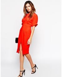 ASOS | Red Petite Wiggle Dress With Split Front | Lyst