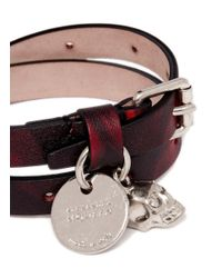 Alexander McQueen - Multicolor Double Wrap Camouflage Print Skull Charm Leather Bracelet - Lyst
