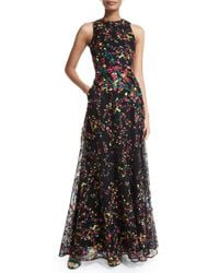 Elie Saab - Multicolor Floral-embroidered Sleeveless Lace Gown - Lyst