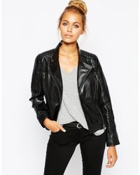 Barneys Originals | Black Leather Biker Jacket With Quilting And Buckle Detail | Lyst