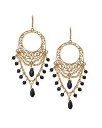 Lauren by Ralph Lauren - Metallic Goldtone Openwork Lace and Jet Bead Chandelier Earrings - Lyst