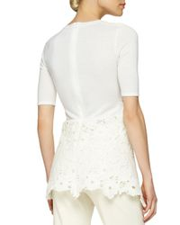 Lela Rose - White Floral Lace Peplum Layered Top - Lyst