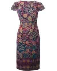 Etro - Multicolor Floral Print Shortsleeved Dress - Lyst