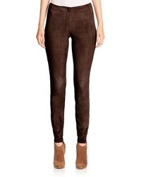 Lafayette 148 New York | Brown Magic Stretch Suede Slim Pants | Lyst
