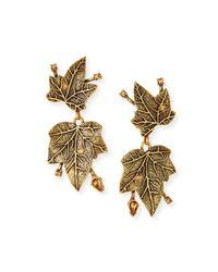 Oscar de la Renta - Metallic Ivy Clip Earrings With Crystals - Lyst