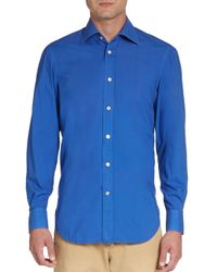 Kiton | Blue Regular-fit Solid Cotton Sportshirt for Men | Lyst